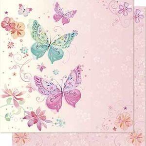 Papel-Scrapbook-Litoarte-SD-644-Dupla-Face-305X305cm-Borboletas-e-Arabesco-Rosa