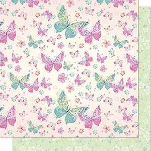 Papel-Scrapbook-Litoarte-SD-645-Dupla-Face-305X305cm-Borboletas-Verde