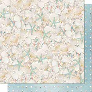 Papel-Scrapbook-Litoarte-SD-651-Dupla-Face-305X305cm-Conchas-e-Estrelas-do-Mar
