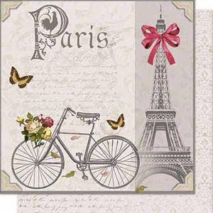 Papel-Scrapbook-Litoarte-SD-655-Dupla-Face-305X305cm-Torre-Eifel-e-Bicicleta
