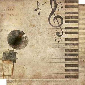Papel-Scrapbook-Litoarte-SD-666-Dupla-Face-305X305cm-Gromofone-e-Notas-Musicais