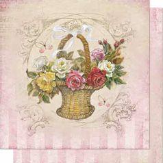 Papel-Scrapbook-Litoarte-SD-672-Dupla-Face-305X305cm-Cesta-com-Rosas