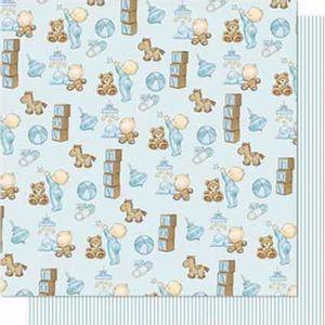 Papel-Scrapbook-Litoarte-SD-677-Dupla-Face-305X305cm-Bebe-Menino-e-Urso