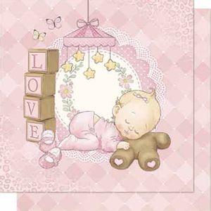 Papel-Scrapbook-Litoarte-SD-680-Dupla-Face-305X305cm-Love-Bebe-Menina