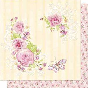 Papel-Scrapbook-Litoarte-SD-696-Dupla-Face-305X305cm-Rosas-e-Borboletas