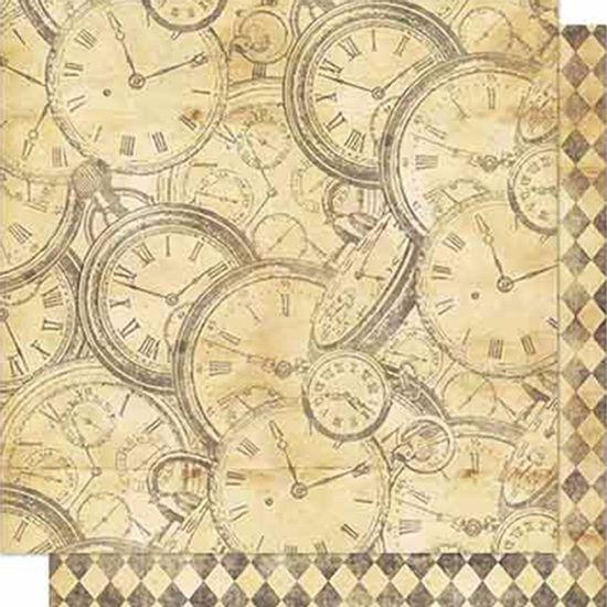 Papel-Scrapbook-Litoarte-SD-704-Dupla-Face-305X305cm-Relogios-e-Losango