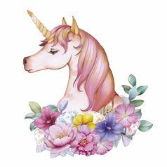 Aplique-Decoupage-Litoarte-APM8-844-em-Papel-e-MDF-8cm-Unicornio-com-Flores
