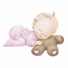 Aplique-Decoupage-Litoarte-APM8-845-em-Papel-e-MDF-8cm-Bebe-Menina-Dormindo