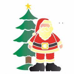 Stencil-OPA-1119-20x25cm-para-Pintura-Natal-Papai-Noel-e-Arvore