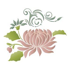 Stencil-Litoarte-ST-107-344x21cm-Pintura-Sobreposicao-Flor-Crisantemo