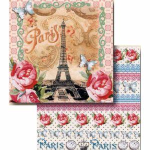 Papel-Scrapbook-Litocart-LSCD-400-Dupla-Face-305x305cm-Paris-e-Rosas-Vintage