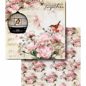 Papel-Scrapbook-Litocart-LSCD-393-Dupla-Face-305x305cm-Passaro-na-Gaiola-e-Flores