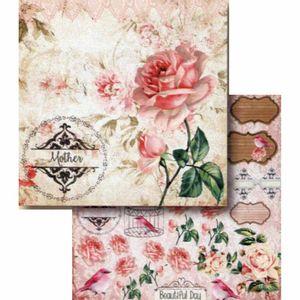Papel-Scrapbook-Litocart-LSCD-394-Dupla-Face-305x305cm-Mother-e-Rosas
