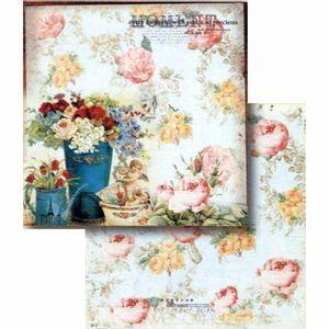 Papel-Scrapbook-Litocart-LSCD-395-Dupla-Face-305x305cm-Rosas-Vintage