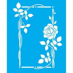 Stencil-Litocart-LSG-107-25x20cm-Pintura-Simples-Rosas-e-Folhas