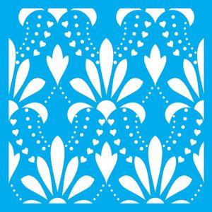 Stencil-Litocart-LSQ-094-20x20cm-Pintura-Simples-Estampa-Flores-e-Coracoes