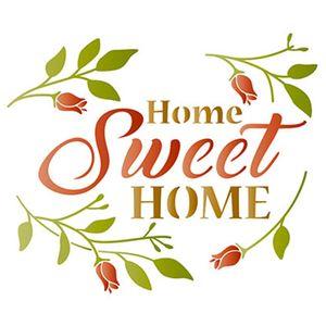 Stencil-Litoarte-STM-510-211X172cm-Pintura-Simples-Home-Sweet-Home-e-Folhas