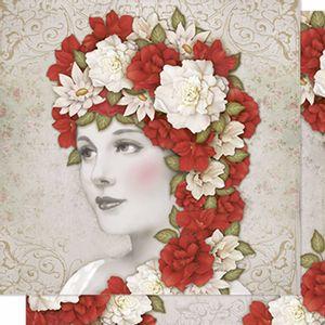 Papel-Scrapbook-Litoarte-SD-201N-Dupla-Face-305X305cm-Mulher-e-Flores-Vermelhas