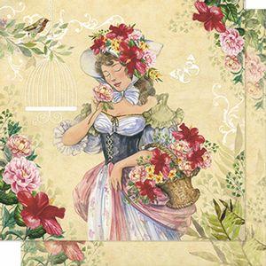 Papel-Scrapbook-Litoarte-SD-208N-Dupla-Face-305X305cm-Mulher-e-Cesta-de-Flores
