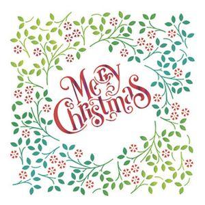 Stencil-Litoarte-Natal-STMN-027-172x21cm-Pintura-Simples-Moldura-Floral-Merry-Christmas-by-Mara-Fernandes