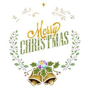 Stencil-Litoarte-Natal-STMN-030-172x21cm-Pintura-Simples-Coroa-Natalina-com-Sinos-Merry-Christmas-by-Mara-Fernandes