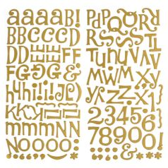 Adesivo-Thickers-Chipboard-American-Crafts-WER050-Alfabeto-Metalizado-Fosco-Ouro-2-Unidades