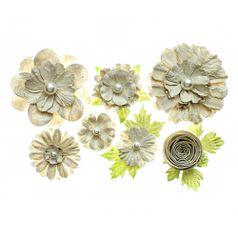 Flores-Artesanais-Sortidas-Toke-e-Crie-FLOR163-Nude-Colecao-Classica-com-Glitter-e-Perola