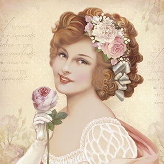 Papel-Decoupage-Adesiva-Litoarte-DAXV-073-15x15cm-Mulher-com-Flores-Rosas-e-Brancas