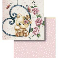 Papel-Scrapbook-Litocart-LSCD-427-Dupla-Face-305x305cm-Urso-e-Flores