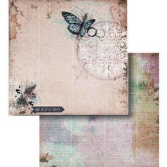 Papel-Scrapbook-Litocart-LSCD-423-Dupla-Face-305x305cm-Borboleta-e-Escrita