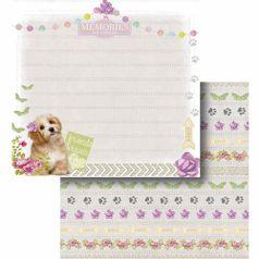 Papel-Scrapbook-Litocart-LSCD-422-Dupla-Face-305x305cm-Cachorro-e-Borboletas