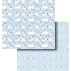 Papel-Scrapbook-Litocart-LSCD-429-Dupla-Face-305x305cm-Unicornios-e-Nuvens