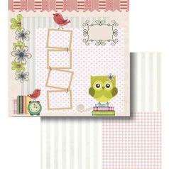 Papel-Scrapbook-Litocart-LSCD-417-Dupla-Face-305x305cm-Coruja-Flores