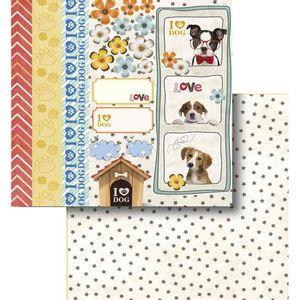 Papel-Scrapbook-Litocart-LSCD-419-Dupla-Face-305x305cm-I-Love-Dog