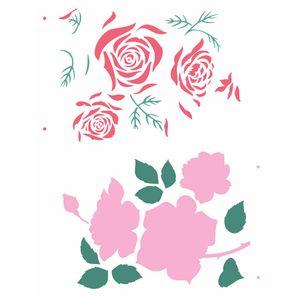 Stencil-Opa-20x25cm-para-Pintura-Simples-OPA2360-Flor-Rosas