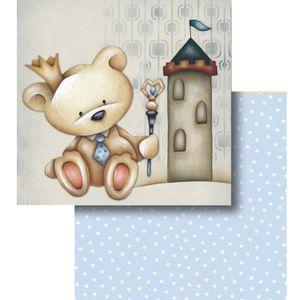 Papel-Scrapbook-Litocart-LSCD-428-Dupla-Face-305x305cm-Urso-e-Castelo