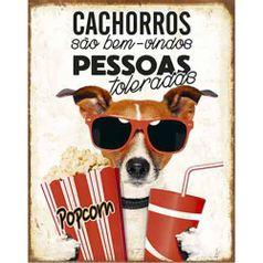 Placa-Decorativa-Litoarte-DHPM-318-24x19cm-Cachorros-Sao-Bem-Vindos-Pessoas-Toleradas
