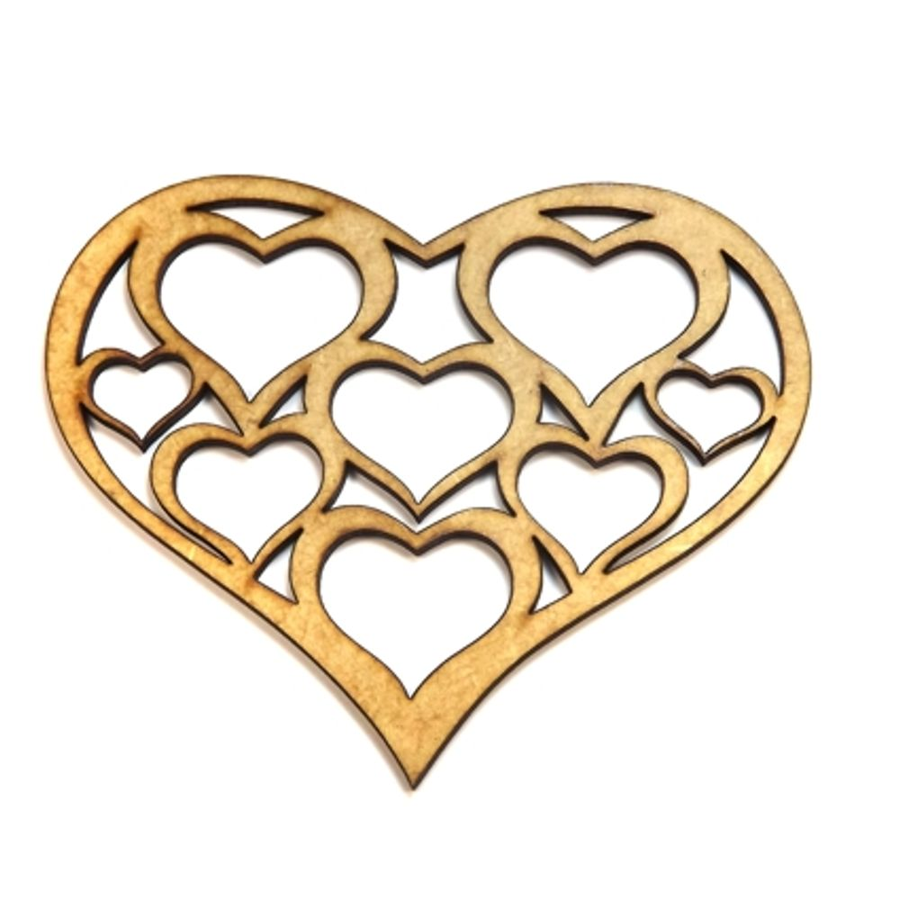 e4932bbe7 Aplique Coração com Corações - MDF a Laser - PalacioDaArte