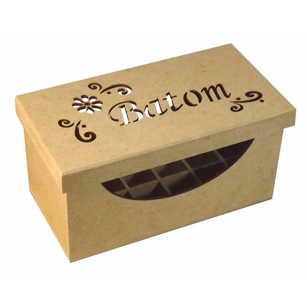 672865828d6 Caixa Batom com 18 Divisões Trabalhado com Tampa de Sapato Flor - MDF -  PalacioDaArte