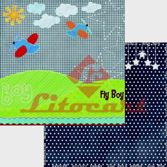 Papel-Scrapbook-Duplo-Aviao-LSCD-198-Litocart-