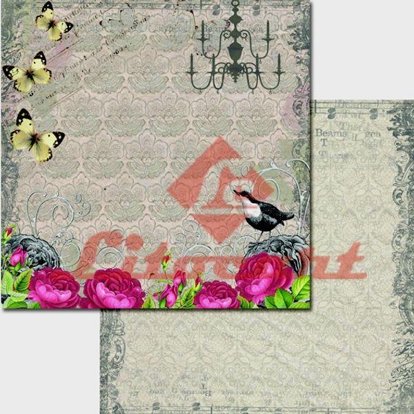 Papel-Scrapbook-Duplo-Passarinho-Borboletas-LSCD-201-Litocart