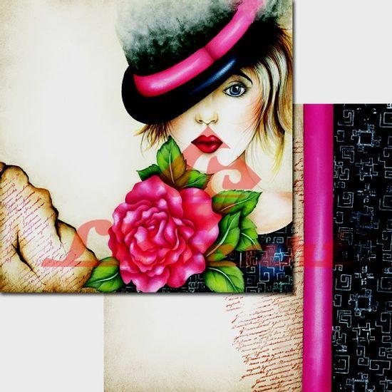 Papel-Scrapbook-Duplo-Flores-LSCD-226-Litocart