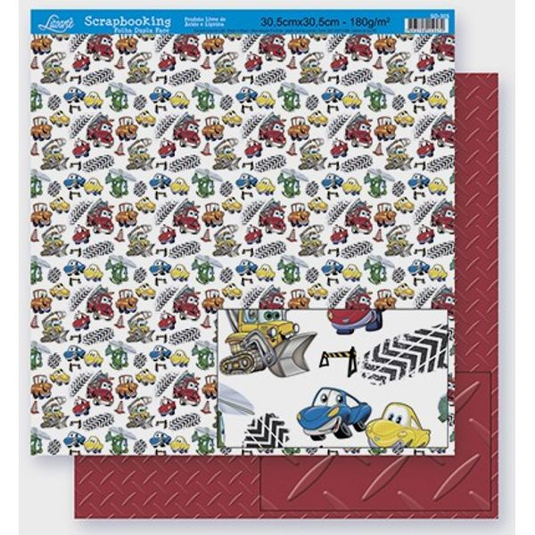 Scrapbook-Folha-Dupla-Face-Carros-SD-295-Litoarte