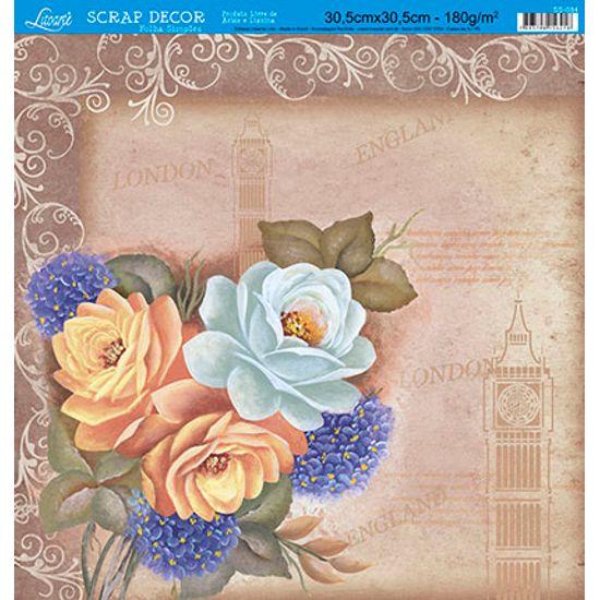 Papel-Scrap-Decor-Folha-Simples-Rosas-London-SS-084---Litoarte-