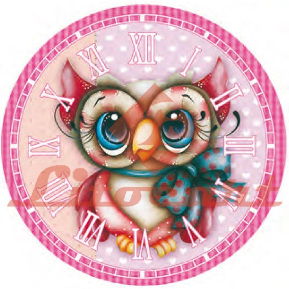 24870859e9905 Relógio Madeira e Papel Decoupage Colado 20x20 Coruja LMAPCR-08 Litocart -  PalacioDaArte