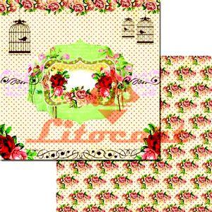 Papel-Scrapbook-Duplo-Passarinho-Flores-LSCD-209-Litocart