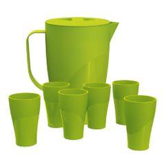 Kit-com-1-Jarra-2L-e-6-Copos-300ml-Verde-Claro-em-Polipropileno-UZ146-VCL---UZ-Utilidades