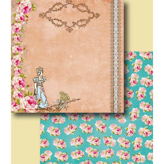 Papel-Scrapbook-Duplo-Flores-LSCD-230-Litocart-