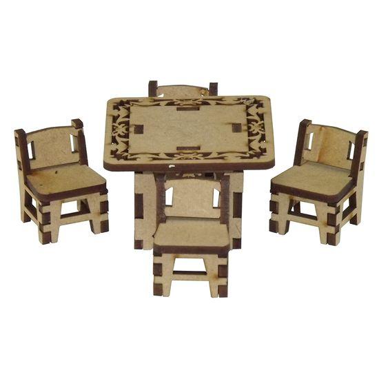 Mesa-Quadrada-e-4-Cadeirinhas-Miniatura---MDF-a-Laser