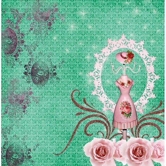 Papel-Scrapbook-com-Gliter-Flores-LSCG-01---Litocart